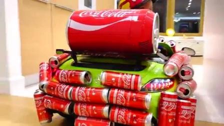 吃货宝宝开上了可乐小车,再也不愁没可乐喝了