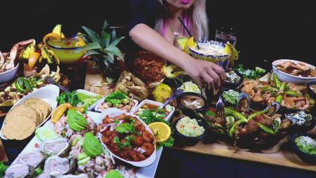 外国吃货小仙女,吃海鲜料理盛宴,牡蛎螃蟹青口虾仁,看的口水流