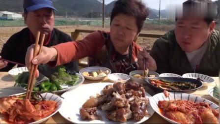 《韩国农村美食》三口家庭的午饭,炖猪蹄切块配上辣白菜、拌葱,我都馋了
