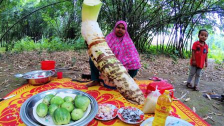 印度农村特色美食,长3米,重100斤,这么大的芋头你吃过吗?