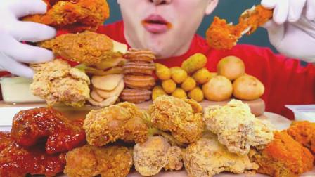 吃货小哥, 吃炸鸡块, 塞得满满一大口, 吃得太过瘾了