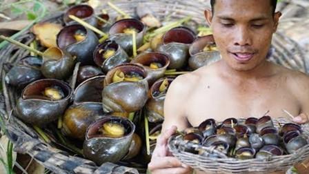 柬埔寨特色美食,福寿螺蘸辣酱,干净又美味!