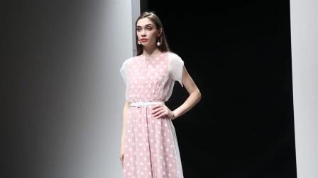 2019夏装新款优雅名媛范透视波点长裙子假两件网纱钉珠连衣裙
