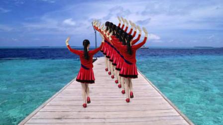 热门金曲《风雨中的情》32步广场舞,红袖经典歌曲好听更好看!