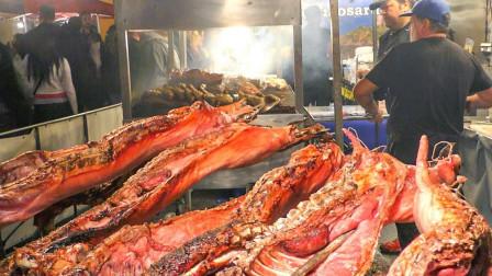意大利街头烤猪,当地的特色美食,游客排着队购买!
