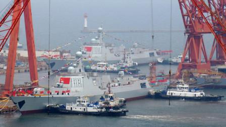 史上第一次!海上身披国旗的双胞胎,2艘052D型中华神盾同时下水!