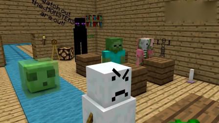 MC搞笑动画《怪物学校》:怪物们比赛做冰雕,你