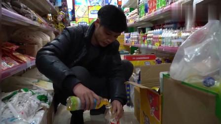 美女超市偷喝饮料,小伙跟着学却闹出笑话太逗了