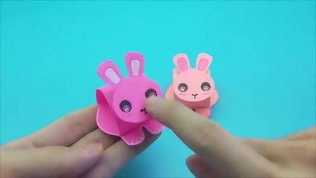 创意手工:折纸会点头的小兔子,简单好玩,手工教程