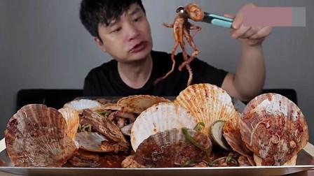 韩国吃货大胃王,吃章鱼、扇贝,看看这吃法,太过瘾了