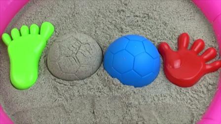 趣味玩沙子  玩手和�_丫的沙子模具和彩色足球沙子