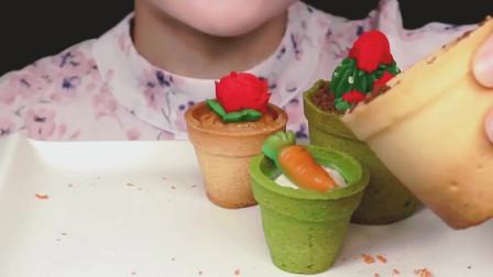 女吃货YUNI, 吃精巧盆栽蛋糕, 看看这吃法, 吃得太馋人了