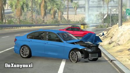 车祸模拟器:大型越野车轮胎掉了一个还可以接着跑,厉害厉害