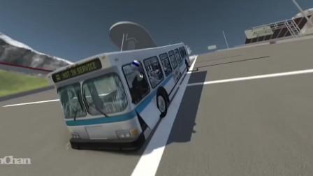 BeamNG:大巴车满载不系安全带的假人过弯不减速,这画面好酸爽啊