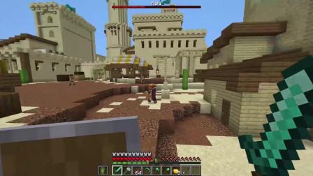 捍卫我的沙漠绿洲城堡从一个劫掠者突袭 Minecraft构建间隔拍摄英尺。团结