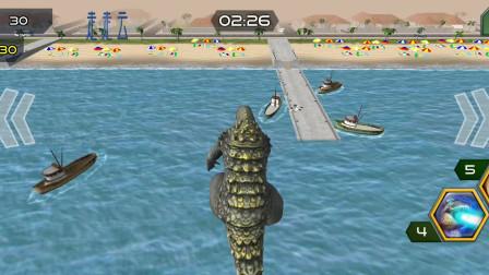 走走云游戏解说:怪物进化,哥斯拉爬出海底,上岸吃房子啦
