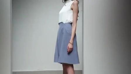 2019夏装新款OL优雅名媛范堆堆领衬衫高腰A摆雾霾蓝半裙套装