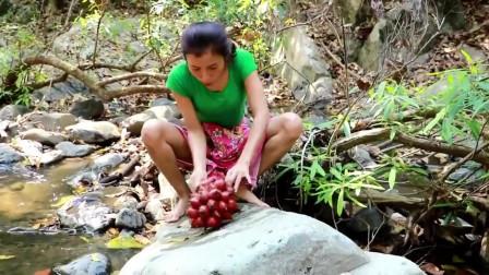 农村媳妇进山高野货,发现一棵老树下结了许多奇怪的果子,这能吃吗