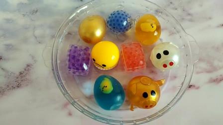 剪破9个不同的捏捏乐玩具来做泥,无硼砂,结局像弹簧水床超好玩