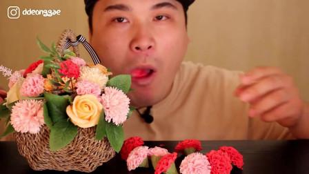 """韩国大胃王胖哥,试吃网红""""花朵"""",嘎嘣嘎嘣太香甜了"""