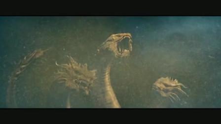 《哥斯拉2_怪�F之王》最新片段,三�^王者基多拉�牡氐装�猬F身