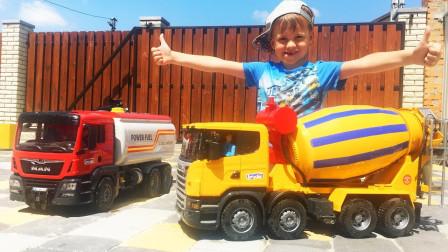 萌娃的水泥罐车:工地施工油罐车发生翻车,萌娃开动水泥罐车铺建水泥路救援!