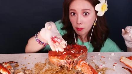 韩国美食吃播小姐姐,吃清蒸红烧帝王蟹,能吃还会卖萌的已经不多见了