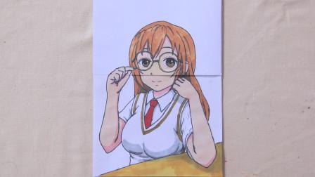 """用1张纸手工展示,美女戴眼镜第1天和120天的区别,""""变化""""真大"""