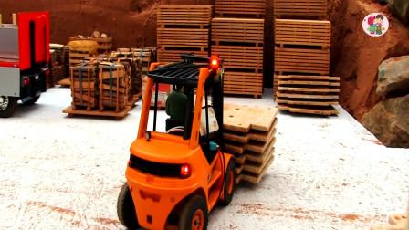 仿真遙控玩具車,叉車搬運板材大卡車運送材料,兒童玩具親子互動