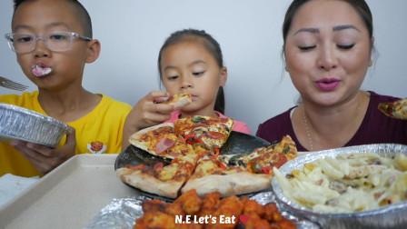 国外小姐姐,和孩子一起吃意大利美食,一家人真幸福啊