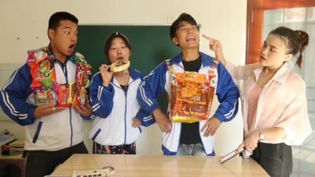 老师不让学生带零食,没想吃货学生竟用辣条做出书包,太有才了