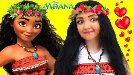 国外小女孩美妆秀:仿妆海洋奇缘莫阿娜你觉得可爱吗?