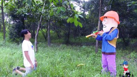 熊出没真人版:陆霖海学长以为光头强又要砍树想去阻止,结果自己打脸了