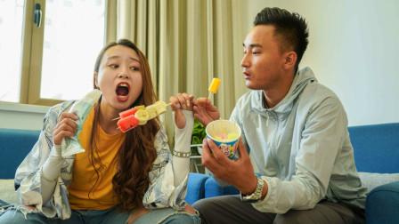 老婆只吃雪糕不吃饭,没想老公想出一招,在家自制各种水果雪糕