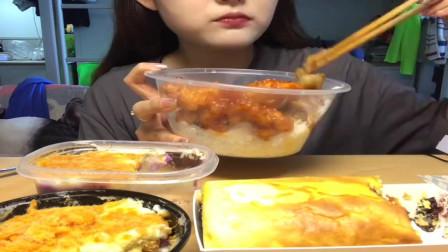 美食吃播:大胃王小姐姐吃酥脆糖醋肉,大口吃的真香!