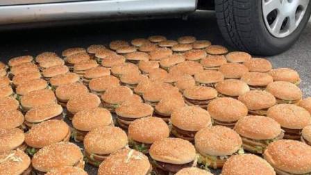 老外开车碾压100个汉堡,强迫症看得过瘾,吃货们看不下去