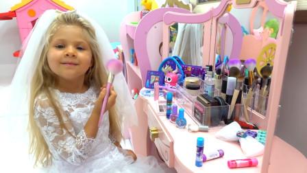 萌娃小可爱把自己打扮成了一位漂亮的小新娘,小家伙可真是人小鬼大呢!