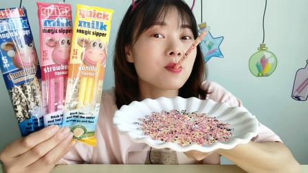 """美食拆箱:妹子吃""""吸管糖"""",创意吃法真有趣,糖果香甜好美味"""