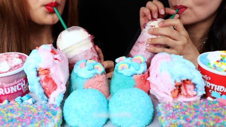 外国美女吃货吃美味冰淇淋,好吃又凉爽,吃完超过瘾