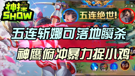 王者荣耀神操show:五连斩娜可落地瞬杀?神鹰俯冲暴力捉小鸡!