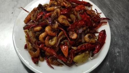 家中做美食,广式香辣野生河虾的做法,肉鲜皮脆香辣可口!