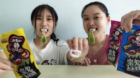 """俩吃货吃""""魔鬼舌头糖"""",尖牙绿舌玩装扮,Q弹酸甜真美味"""
