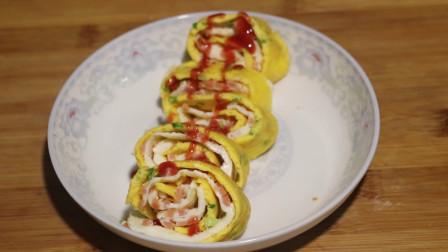 火腿小葱切成丁,摊到锅里煎一煎,蛋清蛋黄卷一卷,营养美味又健康