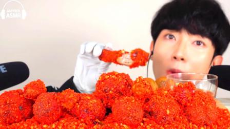 韩国美食小哥,试吃超辣炸鸡腿,这颜色看着就很辣