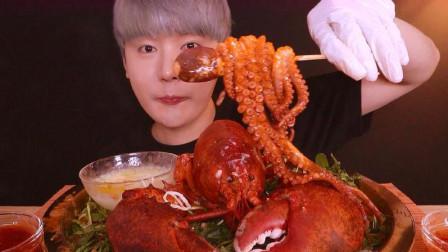 韩国吃货小哥,吃巨型老虎虾和八爪鱼看看这吃法,太过瘾了