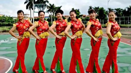 湛江红苹果舞蹈视频 红尘情歌中老年喜庆健身舞