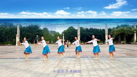 广西龙城雨后彩虹0基础广场舞视频《羊卓湖情歌》