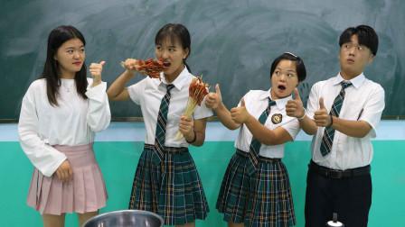 老师用吃辣条串串决定考试分数,没想女同学一口气吃一盆!太逗了