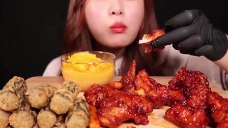 美食吃播大胃王小姐姐吃香辣鸡翅,超辣大口吃的真爽