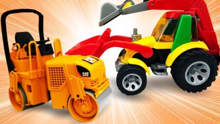 儿童趣味玩具:挖掘机、工程车清理路面沙土,水泥罐车、压路机建造水泥路!